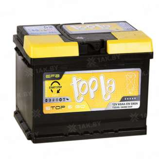 Аккумулятор TOPLA (60 Ah) 580 А, 12 V Обратная, R+ 0