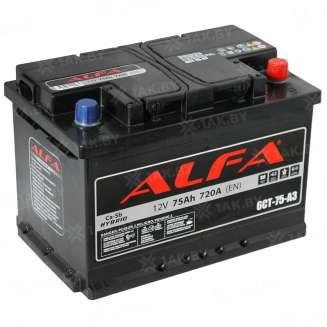 Аккумулятор ALFA (75 Ah) 720 A, 12 V Обратная, R+ 0