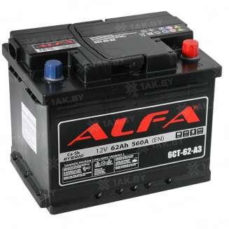 Аккумулятор ALFA (62 Ah) 560 А, 12 V Обратная, R+ 0