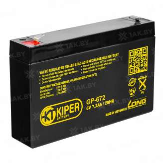 Аккумулятор Kiper (7.2 Ah) , 6 V 0