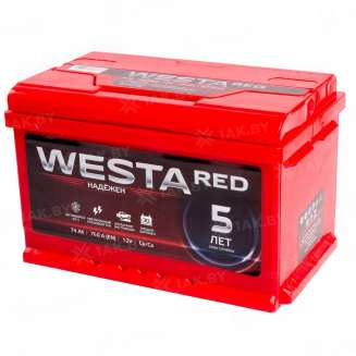 Аккумулятор WESTA (74 Ah) 760 A, 12 V Обратная, R+ 0