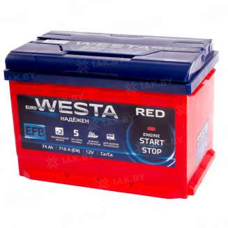 Аккумулятор WESTA (74 Ah) 710 A, 12 V Прямая, L+ 0