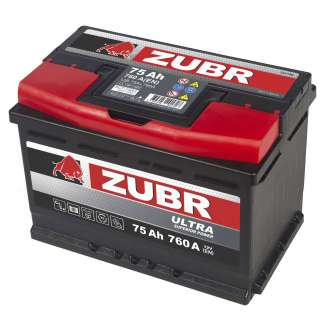 Аккумулятор ZUBR (75 Ah) 760 A, 12 V Прямая, L+ 0