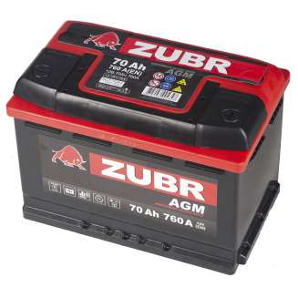 Аккумулятор ZUBR (70 Ah) 760 A, 12 V Обратная, R+ 0
