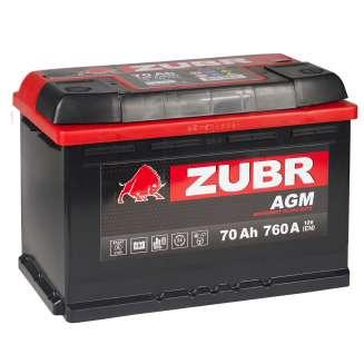 Аккумулятор ZUBR (70 Ah) 760 A, 12 V Обратная, R+ 1