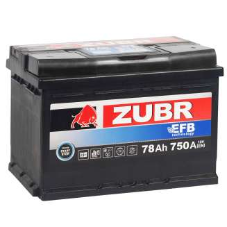 Аккумулятор ZUBR (78 Ah) 750 A, 12 V Обратная, R+ 0