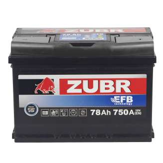 Аккумулятор ZUBR (78 Ah) 750 A, 12 V Обратная, R+ 2