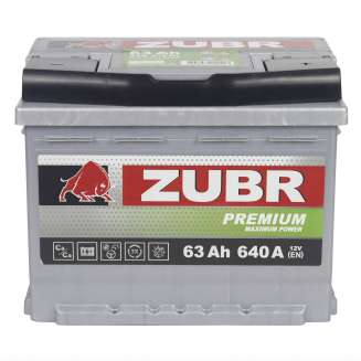 Аккумулятор ZUBR (63 Ah) 640 A, 12 V Обратная, R+ 0