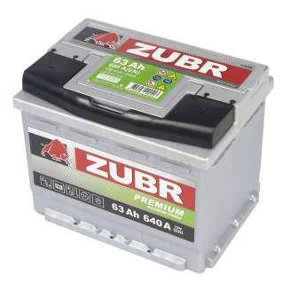Аккумулятор ZUBR (63 Ah) 640 A, 12 V Обратная, R+ 1