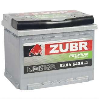 Аккумулятор ZUBR (63 Ah) 640 A, 12 V Обратная, R+ 2
