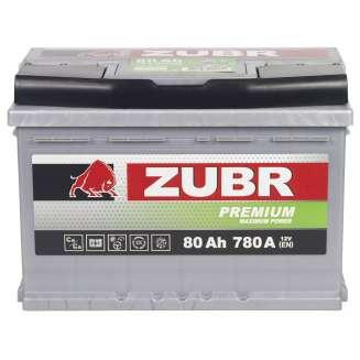 Аккумулятор ZUBR (80 Ah) 780 A, 12 V Прямая, L+ 0