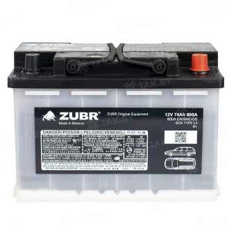 Аккумулятор ZUBR (74 Ah) 800 A, 12 V Обратная, R+ 0