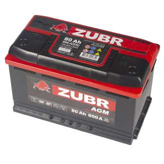 Аккумулятор ZUBR (80 Ah) 800 A, 12 V Обратная, R+ 0