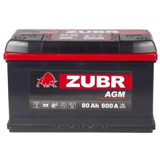 Аккумулятор ZUBR (80 Ah) 800 A, 12 V Обратная, R+ 1