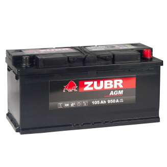 Аккумулятор ZUBR (105 Ah) 950 A, 12 V Обратная, R+ 0