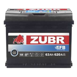 Аккумулятор ZUBR (63 Ah) 620 A, 12 V Обратная, R+ 0