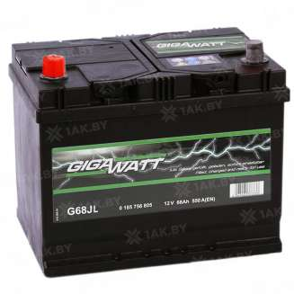 Аккумулятор GIGAWATT (68 Ah) 550 A, 12 V Прямая, L+ 0