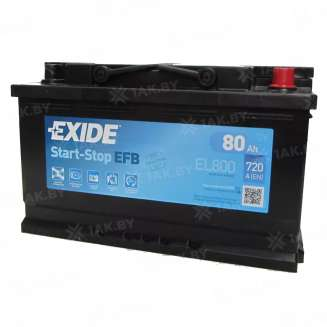Аккумулятор EXIDE (80 Ah) 800 A, 12 V Обратная, R+ 0