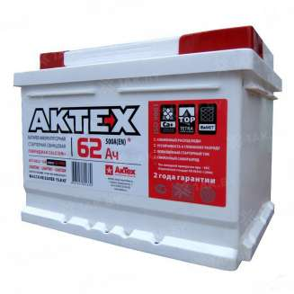 Аккумулятор AKTEX (62 Ah) 500 A, 12 V Обратная, R+ 0