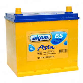 Аккумулятор АКОМ (65 Ah) 570 A, 12 V Обратная, R+ 0