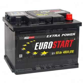 Аккумулятор EUROSTART (55 Ah) 430 A, 12 V Обратная, R+ 1