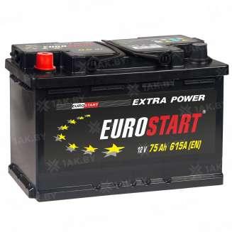 Аккумулятор EUROSTART (75 Ah) 615 A, 12 V Прямая, L+ 0