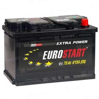 Аккумулятор EUROSTART (75 Ah) 615 A, 12 V Обратная, R+ 0