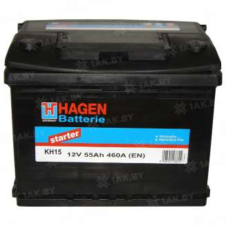 Аккумулятор HAGEN (55 Ah) 460 A, 12 V Обратная, R+ 0