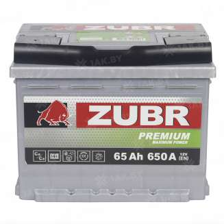 Аккумулятор ZUBR (65 Ah) 650 A, 12 V Прямая, L+ 1