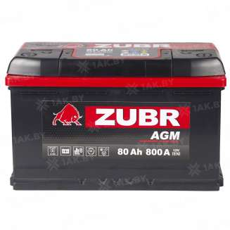 Аккумулятор ZUBR (80 Ah) 800 A, 12 V Обратная, R+ 7