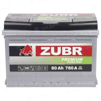 Аккумулятор ZUBR (80 Ah) 780 A, 12 V Прямая, L+ 9